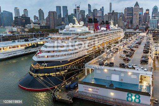 New York - October 22 2016: Disney Magic Cruise Ship docked at the Manhattan Cruise Terminal