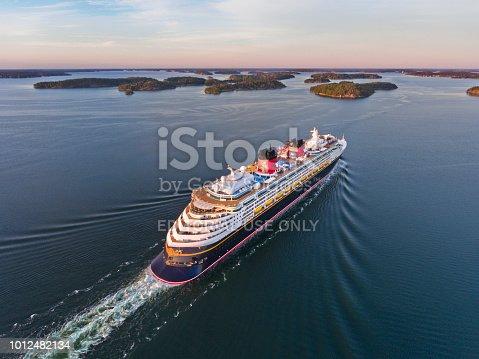 Stockholm, Sweden - August, 03th 2018: Disney Magic Cruiser Ship in the Stockholm Swedish archipelago