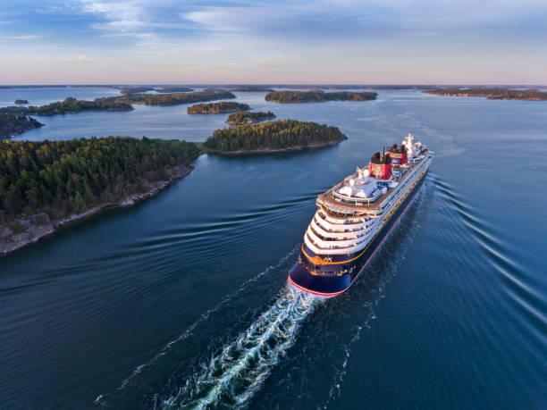 Disney Magic Cruiser Ship in the Stockholm Swedish archipelago stock photo