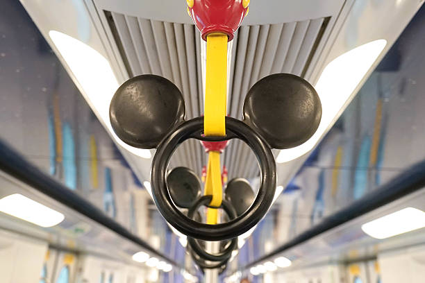 Disney MTR Hong Kong - October 4, 2016 : Mickey Mouse Handle on Disney-themed subway taken on October 4, 2016 in Hong Kong. Disney subway only runs between 2 MTR stations in Hong Kong - Sunny Bay station to Disneyland Resort station. Editorial Used Only new territories stock pictures, royalty-free photos & images