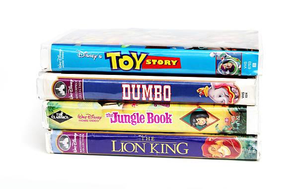 Disney vintage VHS tapes stock photo