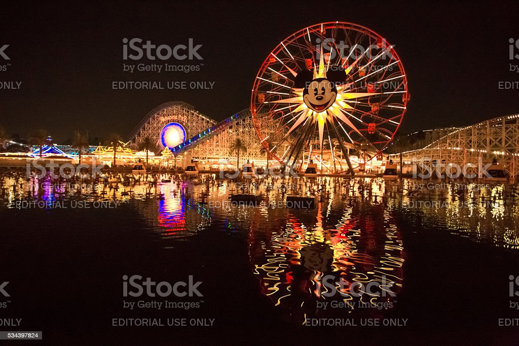 Disneyland 60th aniversary at Cars Land night time stock photo