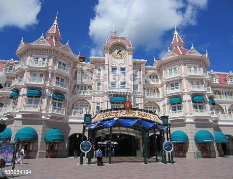 Paris,France,April 19th, 2017:Image of the entrance in Disneyland Park from Paris