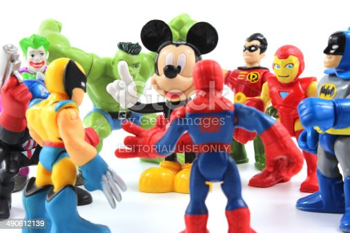 Trowbridge, Wiltshire, UK - May 07, 2014: Photograph of Disney's Mickey Mouse and Marvel Comic's Super Hero squad characters from Hasbro. In 2009, The Walt Disney Company acquired Marvel Entertainment, Inc. for $4.64 billion.