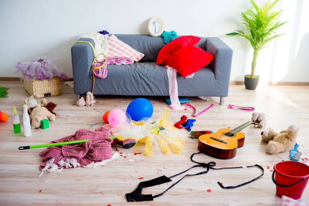 disorder mess at home - chaos stock pictures, royalty-free photos & images