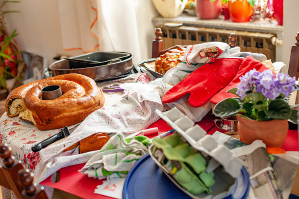 Disorganized and Messy Domestic Home Kitchen Disorganized and Messy Domestic Home Kitchen greed stock pictures, royalty-free photos & images