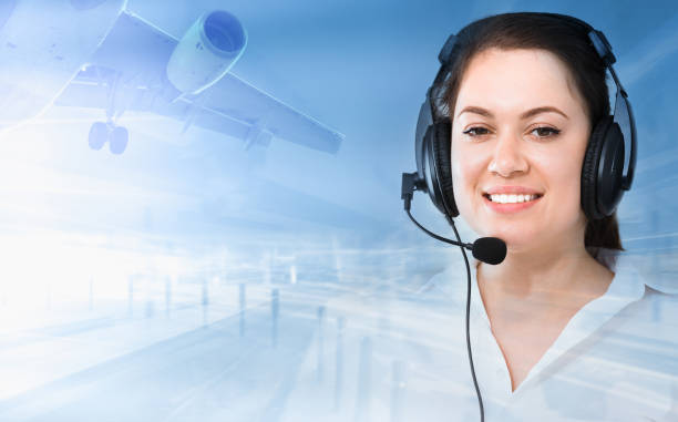 Dispatcher navigating plane stock photo