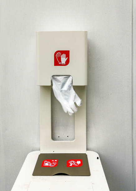 dispenser with one-time plastic gloves for self-protection