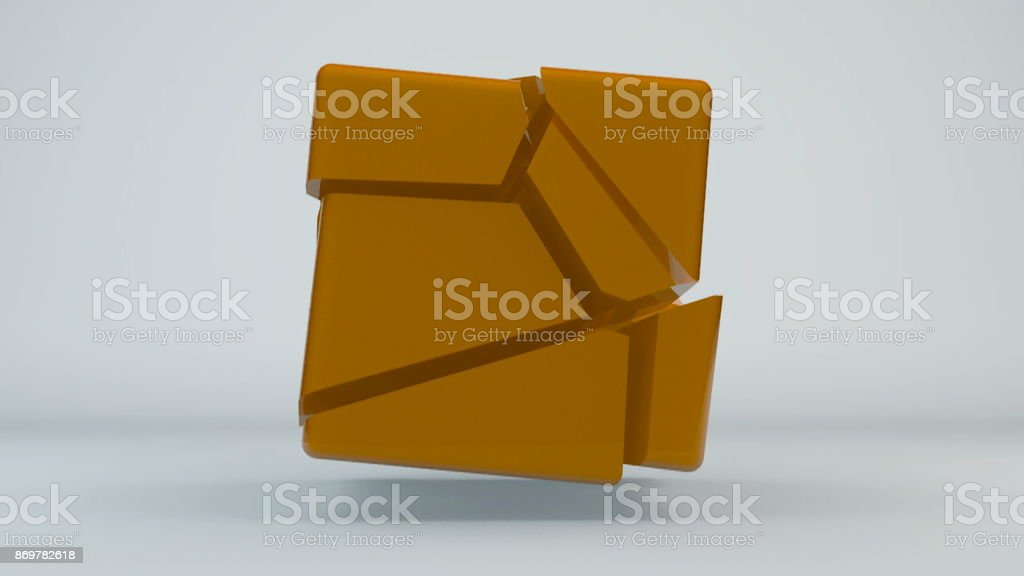 Displacement orange cube. Abstract background stock photo