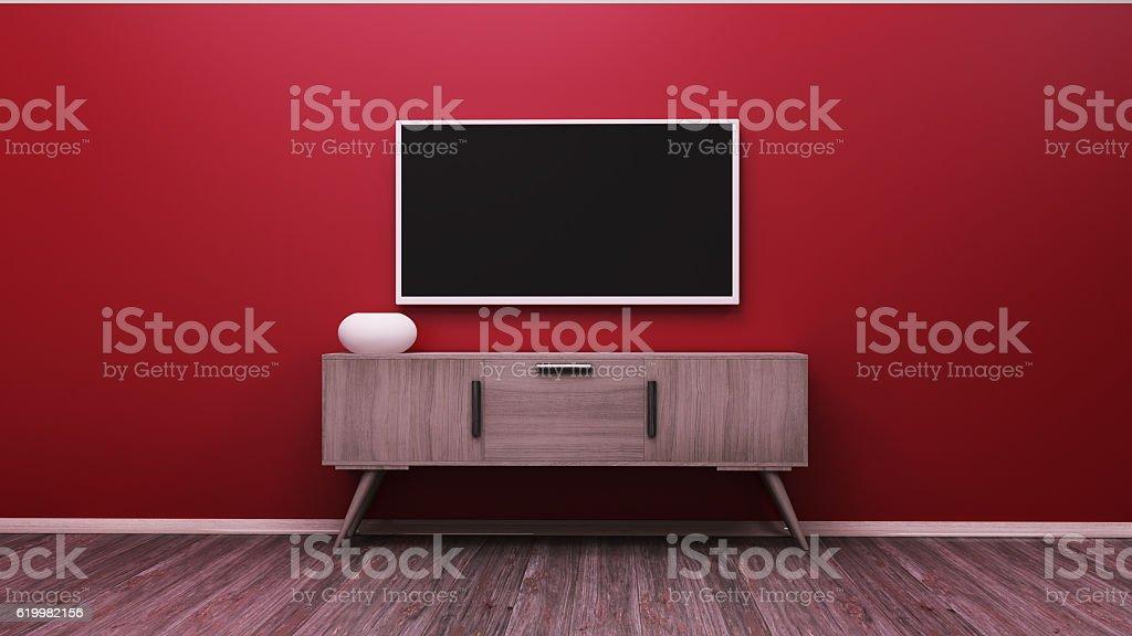TV display 3D rendering - foto de stock