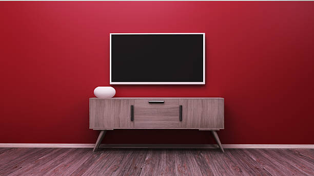 tv display 3d rendering - fernseher and der wand stock-fotos und bilder