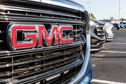 Kokomo - Circa September 2019: GMC SUV display at a Buick GMC dealership. GMC focuses on upscale trucks and utility vehicles and is a division of GM