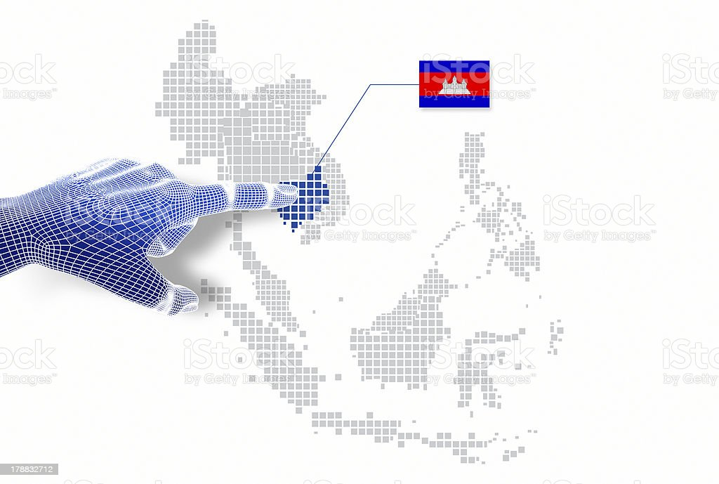 display Cambodia map and flag. royalty-free stock photo