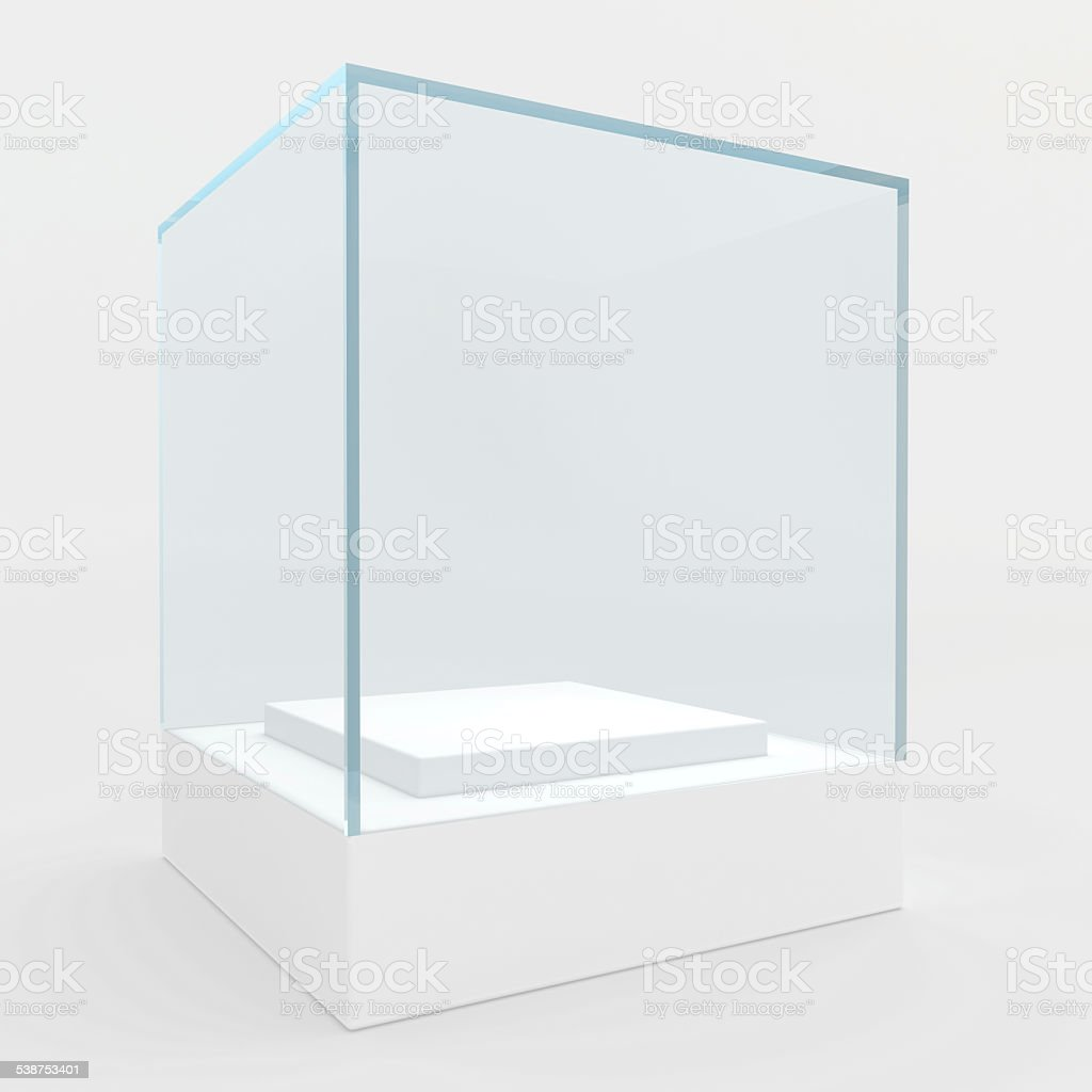 display case. 3d render. isolated on gray background stock photo