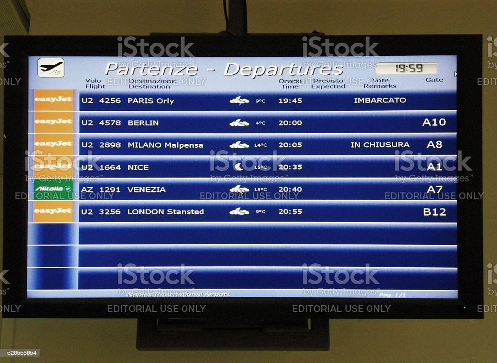 Display delle partenze stock photo