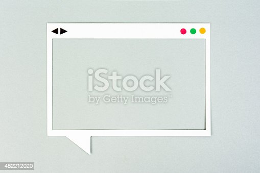465462550istockphoto Display, Frame, white square speech bubble on paper background. 482212020