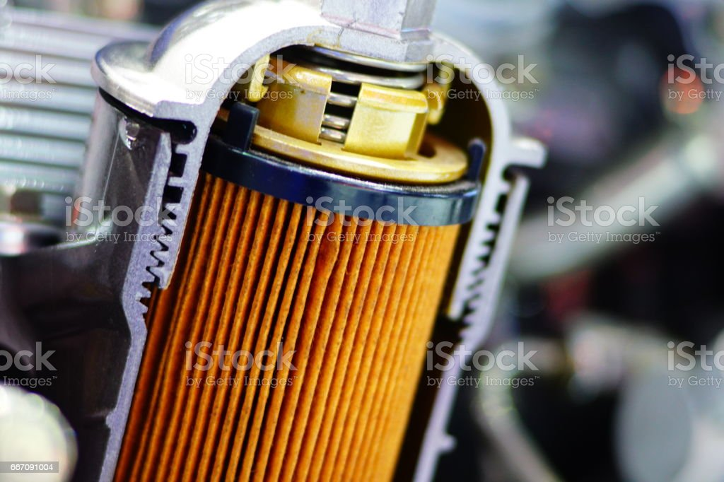 Display inside materials,Engine oil filter cross section stock photo