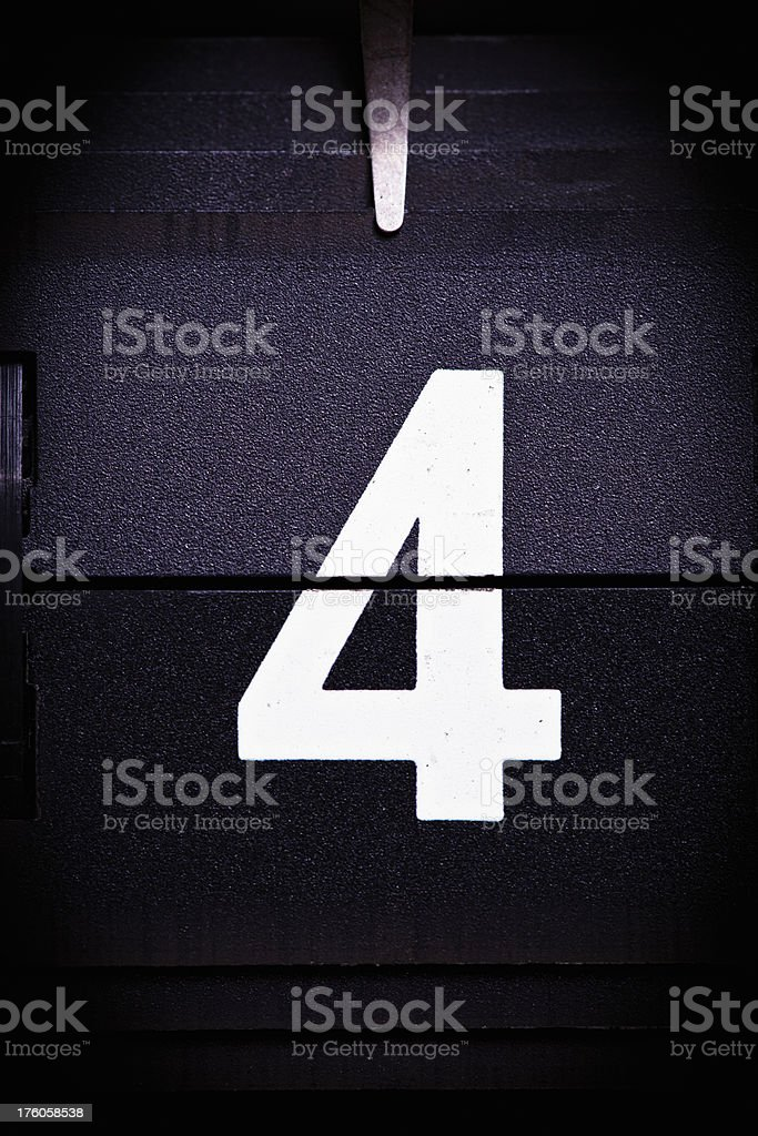 Display number 4 royalty-free stock photo