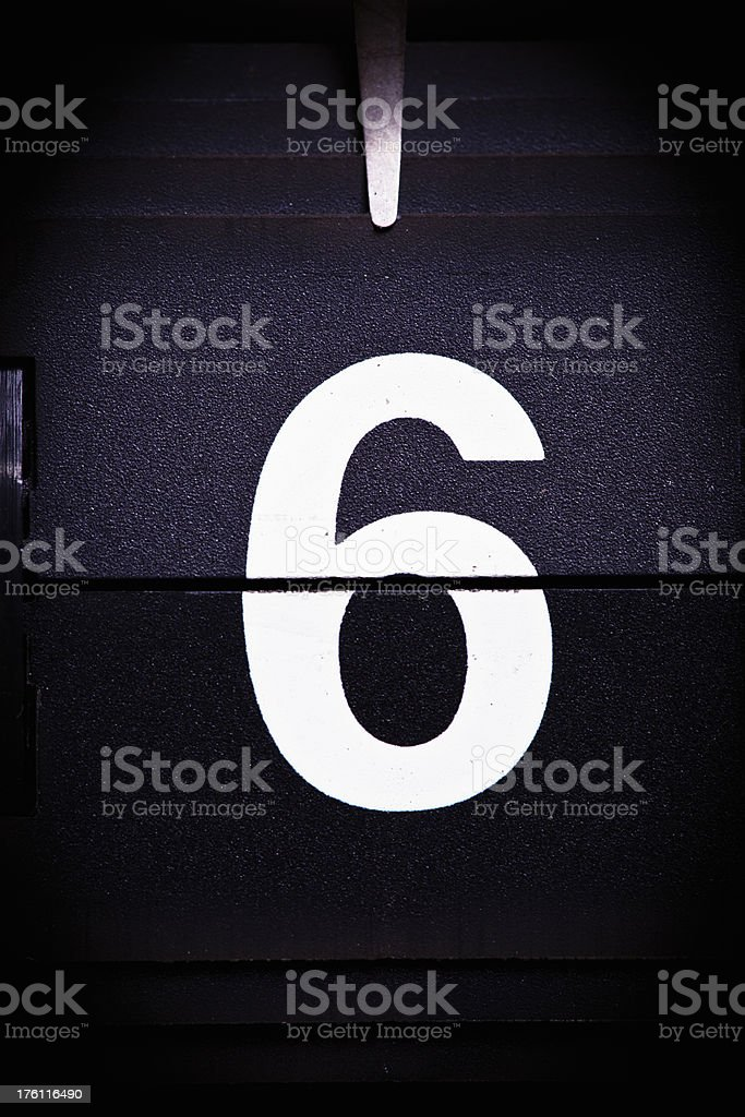Display number 6 royalty-free stock photo