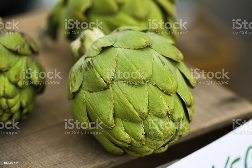 Display of Artichokes royalty-free stock photo
