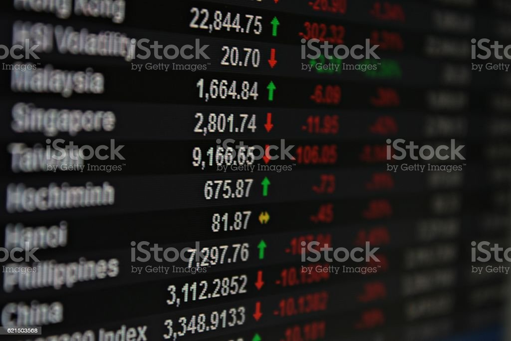 Display of Asia Pacific stock market data on monitor foto stock royalty-free