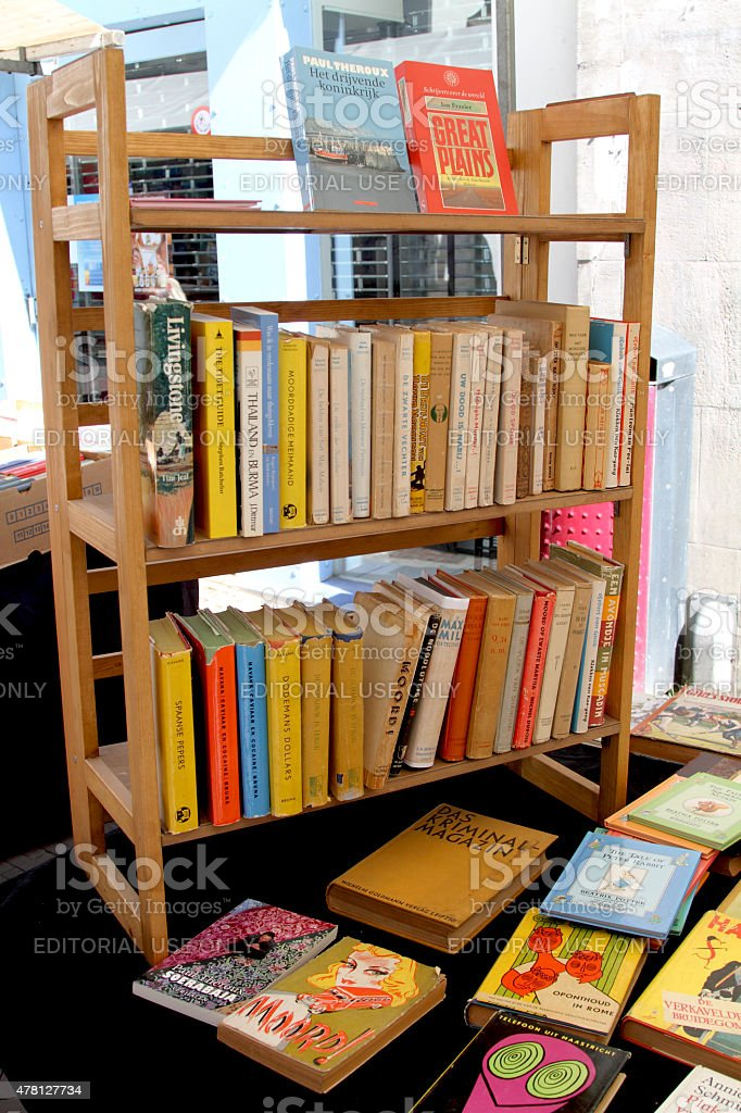 Display of books in the market stock photo