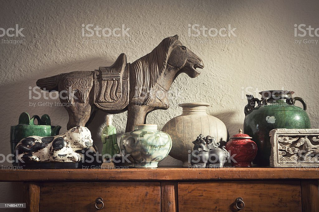Display of Chinese Antique Decorative Objects and Potteries Hz stock photo