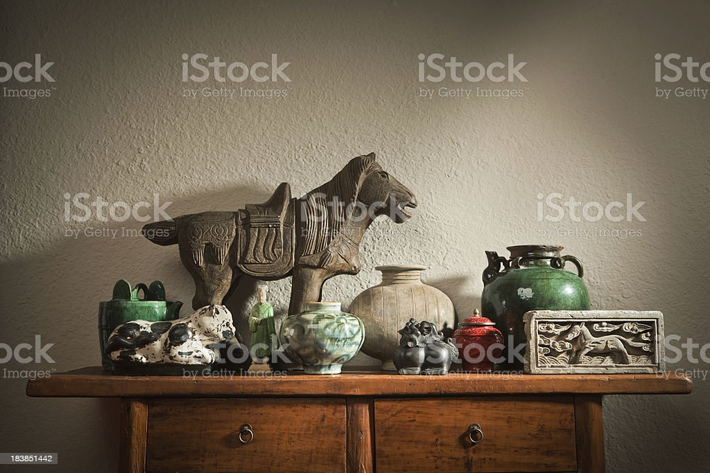 Display of Chinese Antique Store Decorative Objects and Potteries Hz stock photo