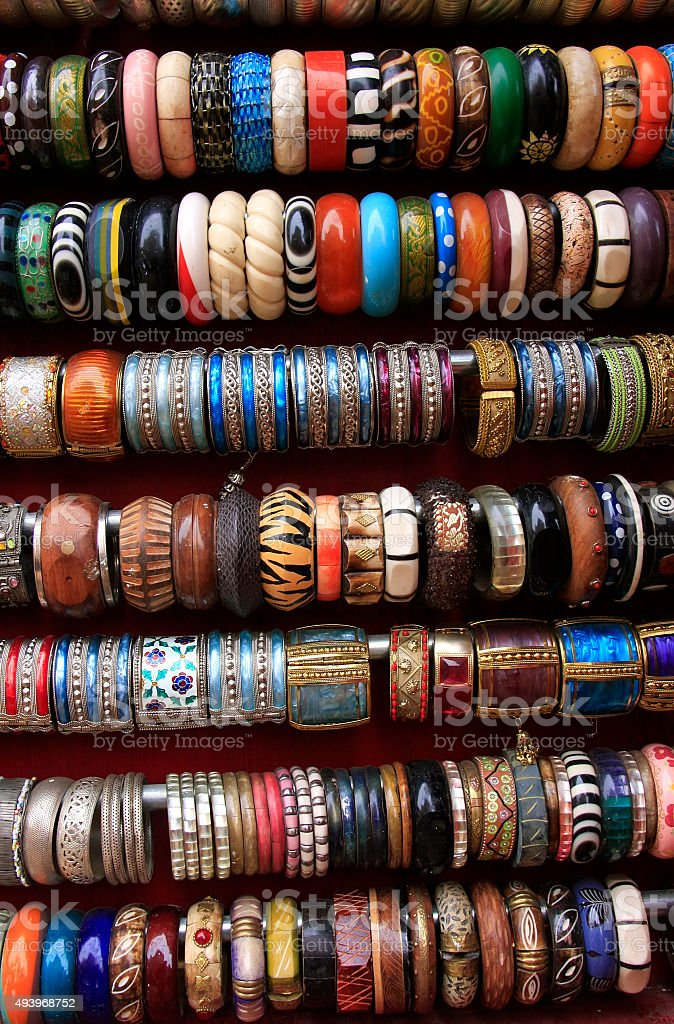 Display of colorful bracelets at a souvenir shop stock photo