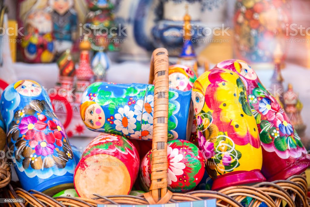Display of colorful matryoshkas (russian dolls) in Moscow, Russia stock photo