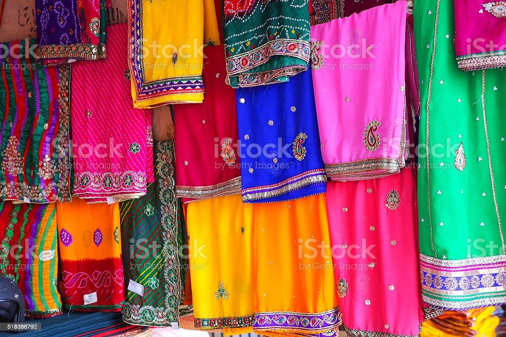 Display of colorful saris at Johari Bazaar in Jaipur, India stock photo