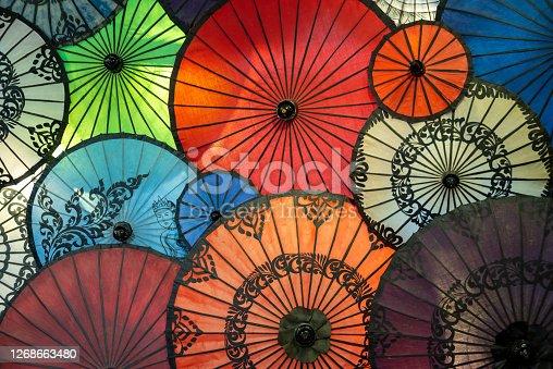 Display of colorful umbrellas in Burma, Myanmar