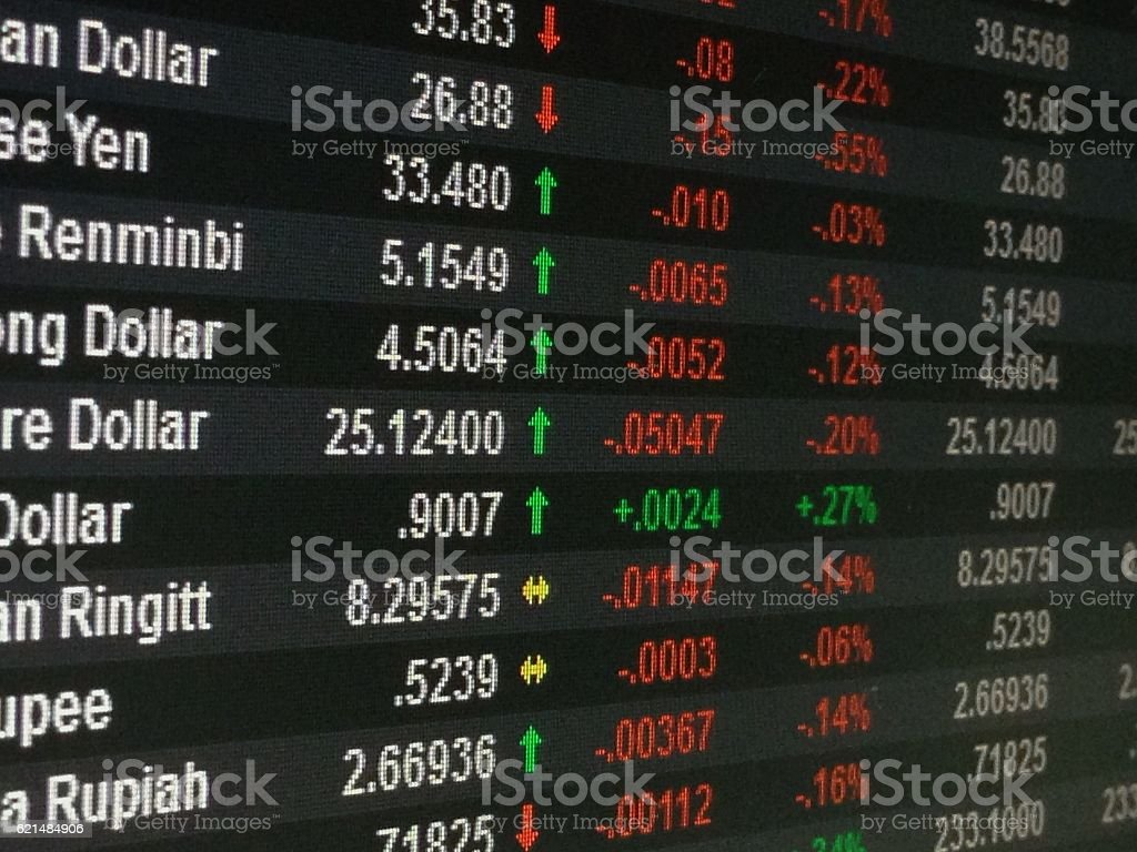 Display of currency exchange rate on monitor stock photo