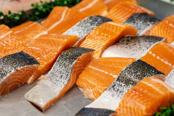 Display Of Fresh Salmon Fillets stock photo