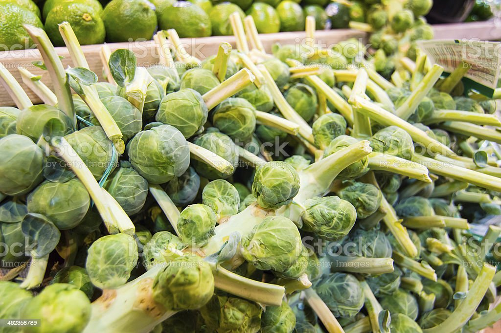 Display of fresh vegetables - Brussel Sprouts stock photo