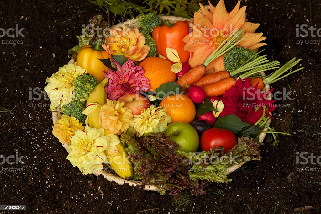 Display of fruits and vegetables stock photo