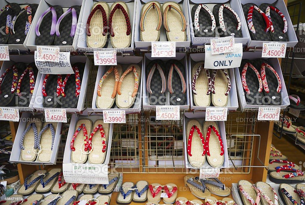Display of Japanese straw Zori sandals at Tokyo market royalty-free stock photo