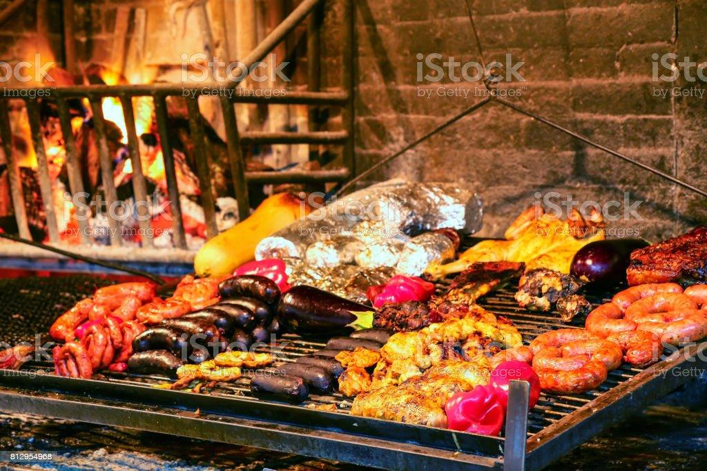 Display of meats in Port Market, Montevideo, Uruguay stock photo