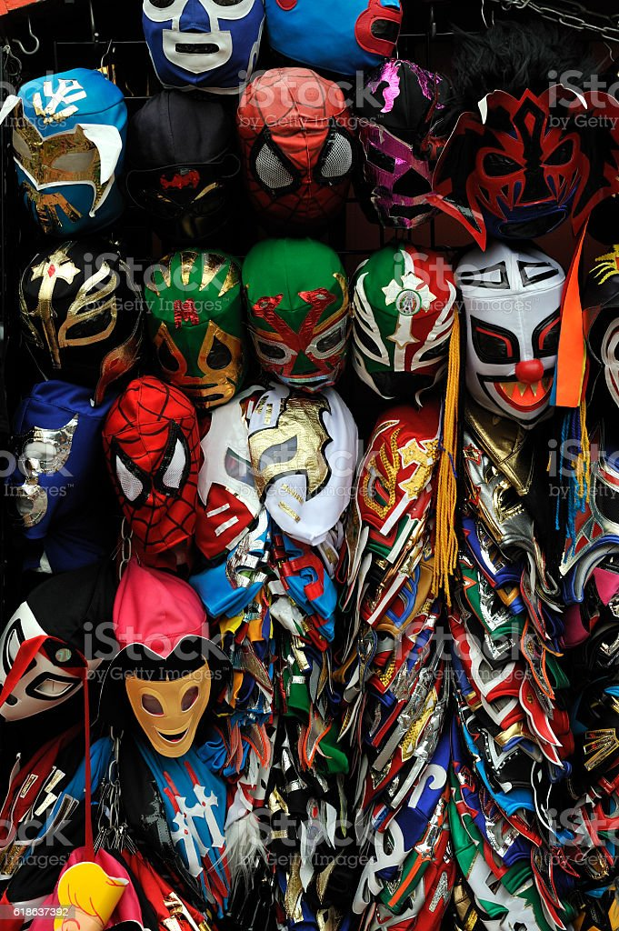 Display of Mexican Wrestlers' masks stock photo