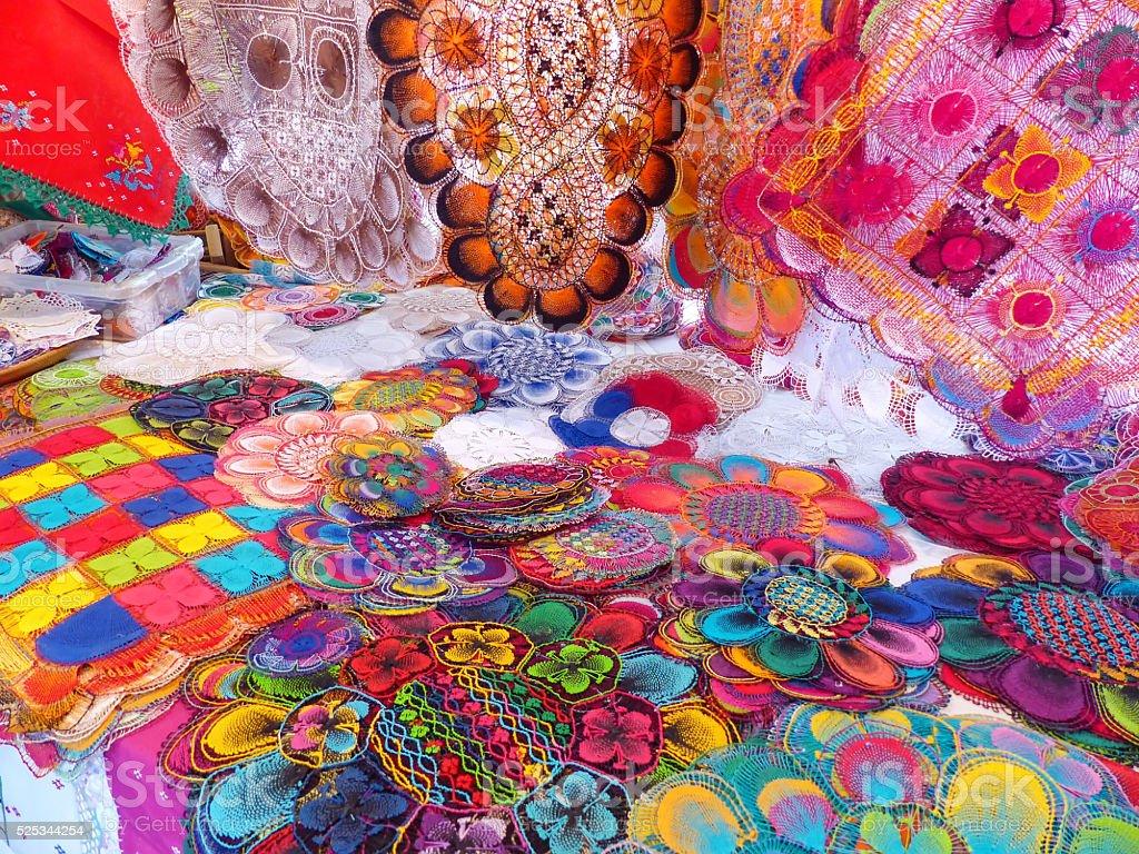 Display of nanduti at the street market in Asuncion, Paraguay stock photo