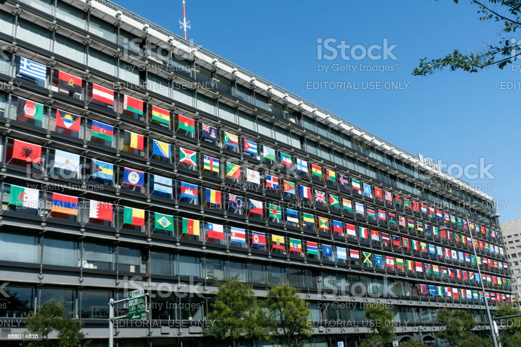 Display of national flags stock photo