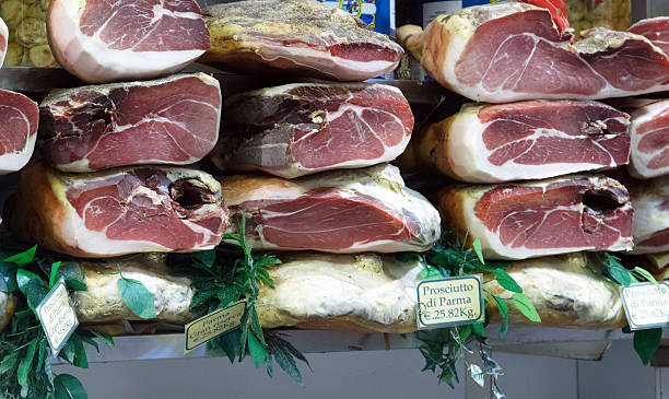 Display of parma hams stock photo