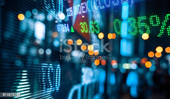 istock Display of Stock market quotes with city scene reflect on glass 874979248
