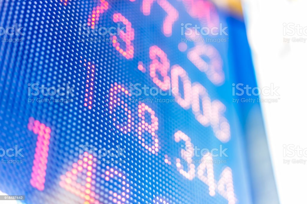Display Of Stock Market Quotes With City Scene Reflect On