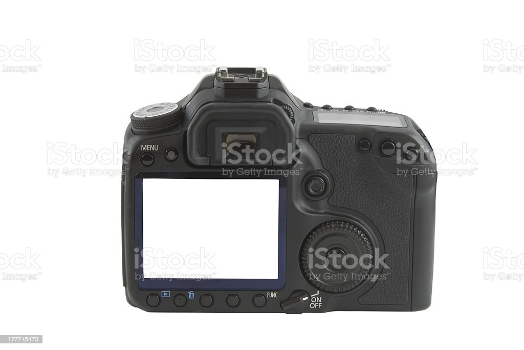Display on camera isolated over white background stock photo