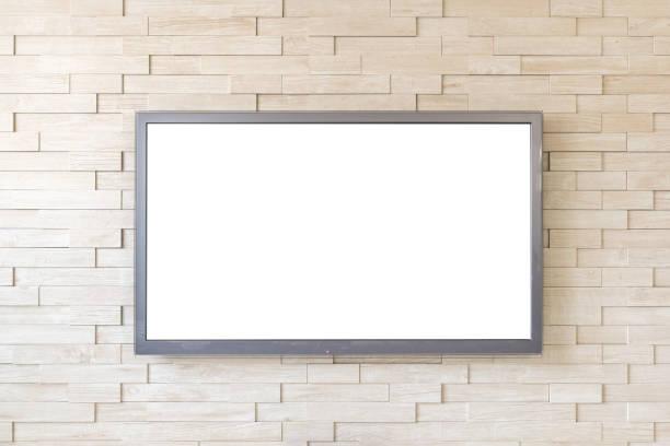 TV-Anzeige auf moderne Ziegel Wand Hintergrund mit weißer Bildschirm – Foto