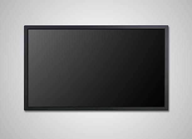 tv display mit schwarzer bildschirm wand - 4k led tv stock-fotos und bilder
