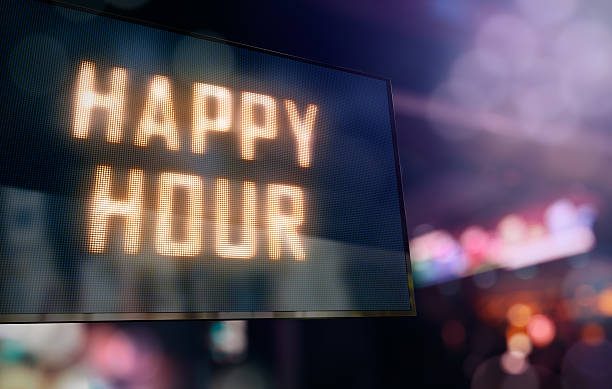 led display - happy hour stock photos and pictures