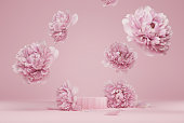 istock 3D display podium pastel pink flower  background. Peony blossom falling down. Nature minimal pedestal for beauty, cosmetic product presentation. Valentine, feminine copy space template 3d render 1292564753