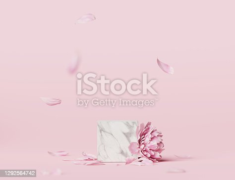 istock 3D display podium pastel pink flower  background. Peony blossom. Nature minimal marble, stone pedestal with falling petals. Beauty, cosmetic product presentation. Valentine, template 3d render 1292564742